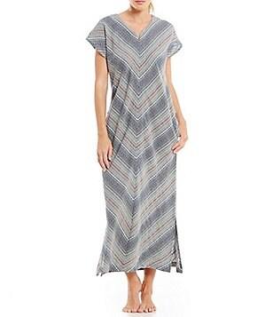 Kate Landry Casuals Mitered Stripe Dobby Patio Dress