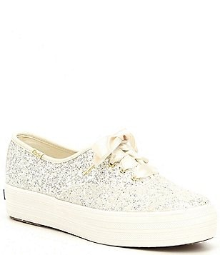 Kate spade new york womens bridal wedding shoes dillards keds x kate spade new york triple ks glitter sneakers junglespirit Images