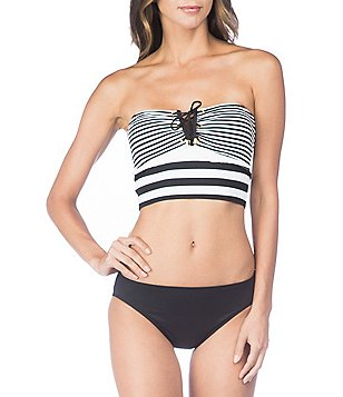 Lauren Ralph Lauren Modern Marine V-Wire Bandeau Midkini Top \u0026 Solid  Hipster Bottom Swimsuit