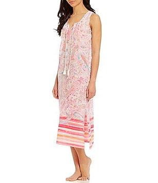 Lauren Ralph Lauren Paisley U0026 Striped Gauze Racerback Maxi Lounge Dress
