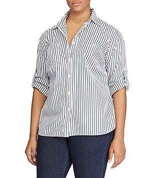 Lauren Ralph Lauren Plus Roll-Sleeve Shirt