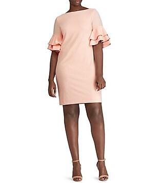 Lauren Ralph Lauren Plus Blush Pink Ruffle-Sleeve Crepe Dress