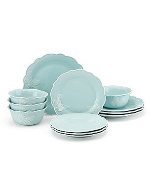 Lenox Butterfly Meadow Carved 12-Piece Dinnerware set  sc 1 st  Dillardu0027s : lenox tin can alley dinnerware - pezcame.com