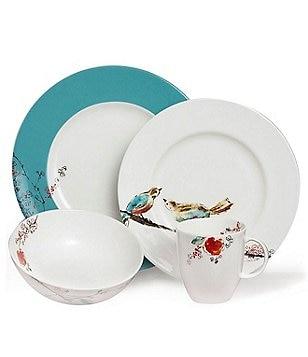 Lenox Chirp Floral \u0026 Bird 4-Piece Place Setting  sc 1 st  Dillard\u0027s & lenox chirp: Dining \u0026 Hosting: Dinnerware Glassware \u0026 Serveware ...