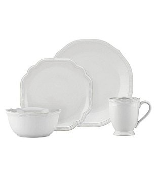 Lenox French Perle Bead Scalloped Stoneware 4-Piece Place Setting  sc 1 st  Dillard\u0027s : dinnerware place settings - pezcame.com