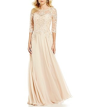 mgny madeline gardner new york beaded lace bodice chiffon gown