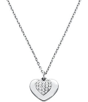 Michael Kors Love Collection Sterling Silver Pave Heart Necklace