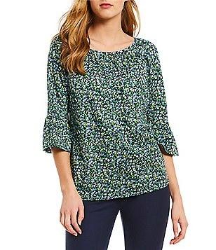 Discounts Michael Michael Kors Yellow Floral Print Top For Women Online Sale