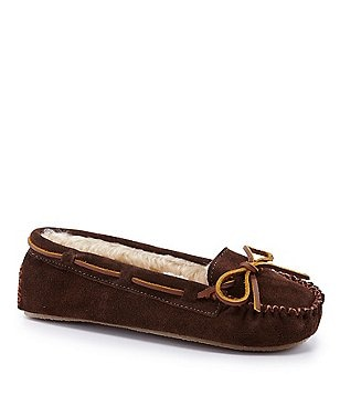Minnetonka Cally Suede Moccasin with Faux Fur Trim Slippers BxzRqf