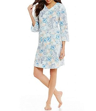 Miss Elaine Quilted Floral Paisley Zip Robe