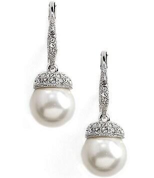 Nadri Pearl Pav Drop Earrings