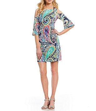 Nicole Miller New York Paisley Print Cold Shoulder Sheath