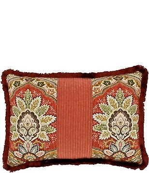 Rose Tree Harrogate Fringed Damask U0026 Striped Reversible Breakfast Pillow