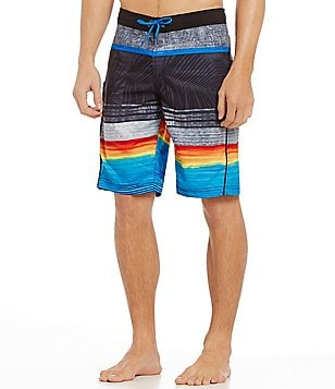 Roundtree & Yorke Palm Stripe Swim Trunks