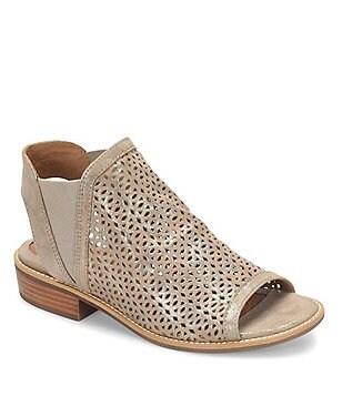 Sofft Nalda Distressed Foil Suede Block Heel Sandals
