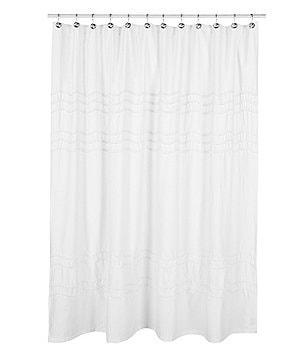 Marvelous Southern Living Chantilly Chevron Pom Pom Linen Shower Curtain