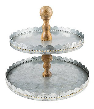 Southern Living Galvanized Iron & Mango Wood 2-Tier Pastry Server