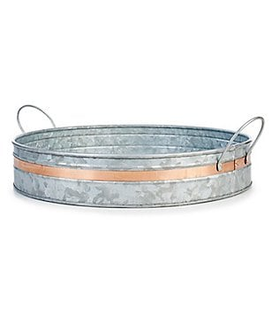 Southern Living Modern Metals Collection Galvanized Round Tray with Copper Band