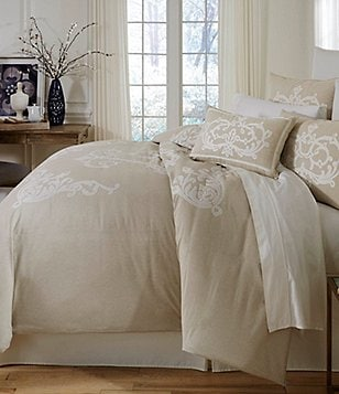 southern living granville embroidered mlange chambray duvet mini set - Comforter Covers