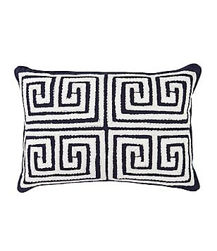 Southern Living Greek Key Embroidered Breakfast Pillow