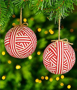 southern living homestead holidays 2 piece ticking stripe ball ornament set - Christmas Tree Accessories