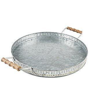 Southern Living Modern Countryside Large Galvanized Iron Charger Tray with Mango Wood Handles