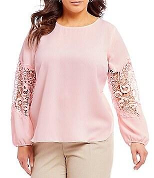 Tahari ASL Plus Size Georgette Lace Inset Long Sleeve Blouse