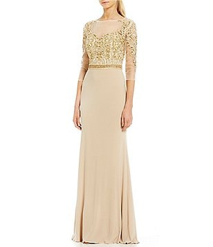 Terani Couture 3 4 Sleeve Beaded Bodice Gown