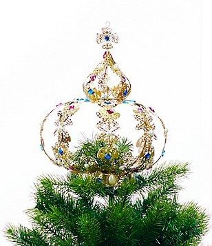 trimsetter crescent city collection metal crown tree topper - Christmas Tree Tops
