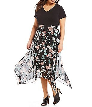 Vince Camuto Plus Size Knit Floral Chiffon Midi Dress