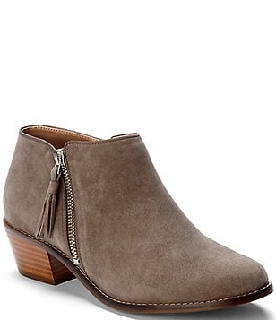 Vionic Serena Water Resistant Suede Zipper with Tassel Pull Block Heel Ankle  Boots