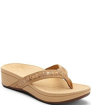 Vionic High Tide Leather & Textile Flip-Flops