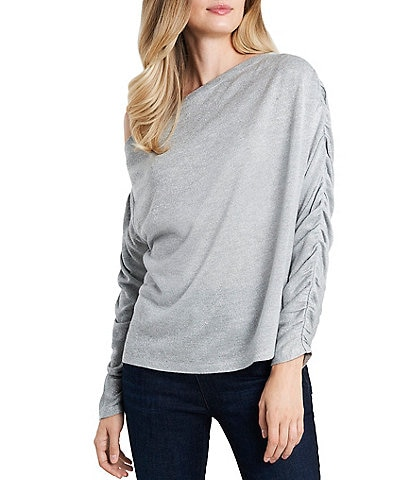1. STATE One Shoulder Ruched Sleeve Sparkle Knit Top