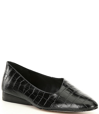 1. STATE Bennie Croc Embossed Leather Asymmetrical Flats