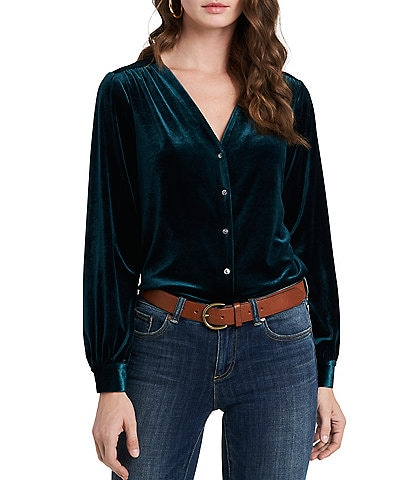 1. STATE Long Sleeve Button Front V-Neck Velvet Blouse