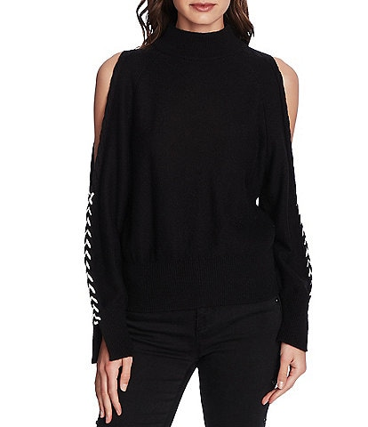 1. STATE Cable Knit Whipstitch Sleeve Cold Shoulder Sweater