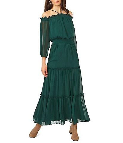 1. STATE Chiffon Halter Neck Bracelet Sleeve Cold Shoulder Smocked Waist Maxi Dress