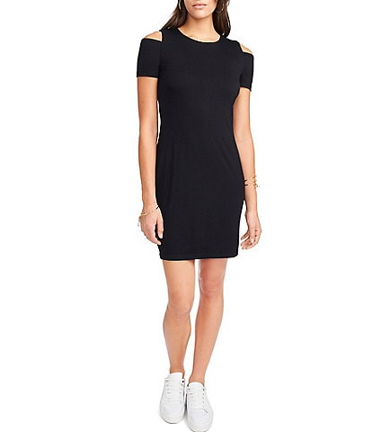 1. STATE Cold Shoulder Knit Sheath Dress