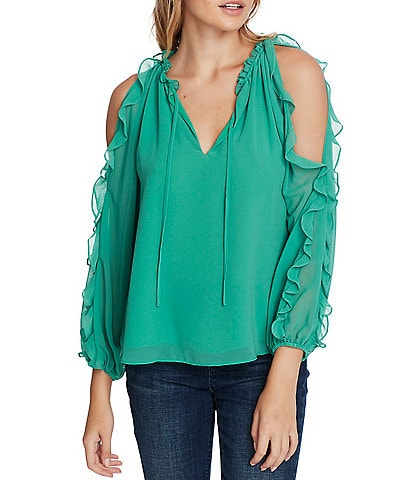 1. STATE Cold Shoulder Ruffle Detail Blouse