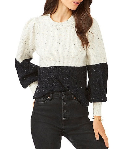1. STATE Color Block Long Bubble Sleeve Crew Neck Statement Sweater