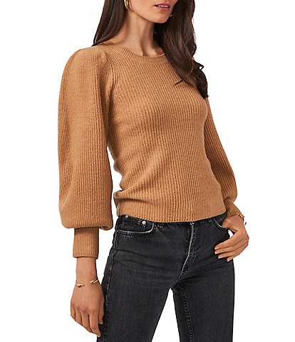 1. STATE Crew Neck Balloon Long Sleeve Ribbed Statement Sweater
