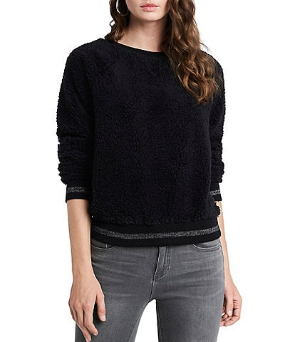 1. STATE Crew Neck Banded Lurex Detail Teddy Pullover