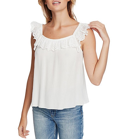 1. STATE Crinkle Gauze Square Neck Sleeveless Top