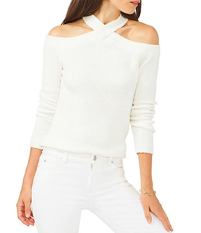 1. STATE Criss Cross Mock Neck Cold Shoulder Statement Sweater