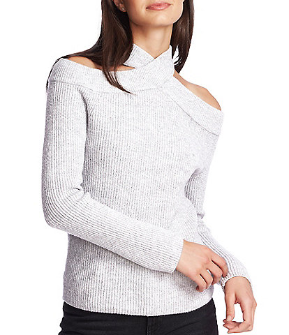 1. STATE Criss Cross Mock Neck Cold Shoulder Sweater