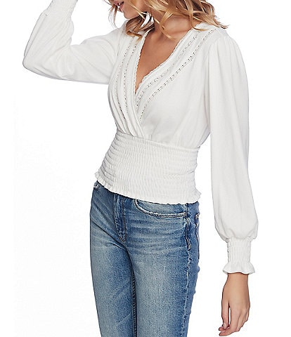 1. STATE Cross Front Smocked Waist V-Neck 3/4 Sleeve Top