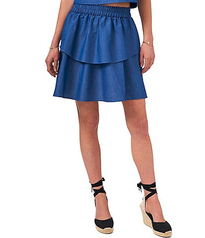 1. STATE Double Layer Smocked Waist Pull-On Skirt
