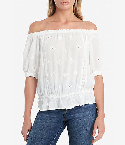 1. STATE Embroidered Off-the-Shoulder Cinched Waist Blouse