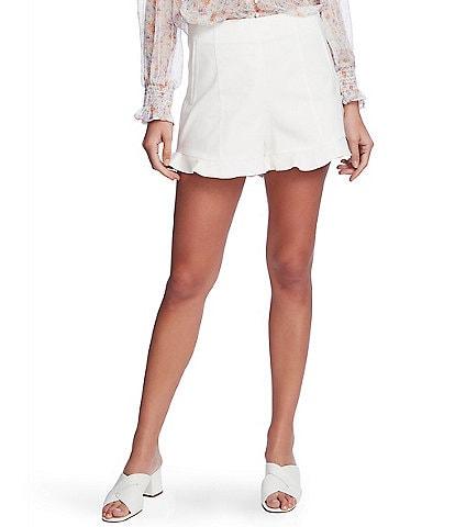 1. STATE Flat Front Ruffle Hem Shorts