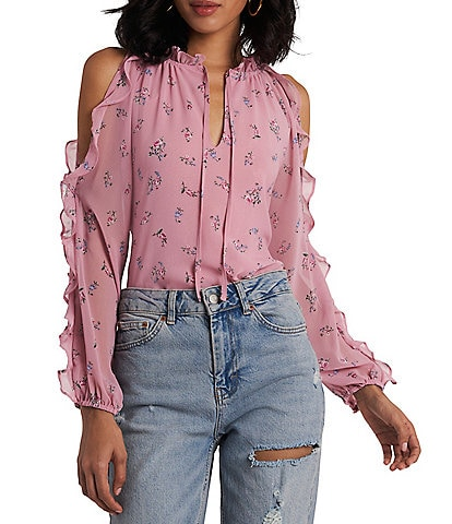 1. STATE Floral Print Cold Shoulder Ruffle Detail Blouse